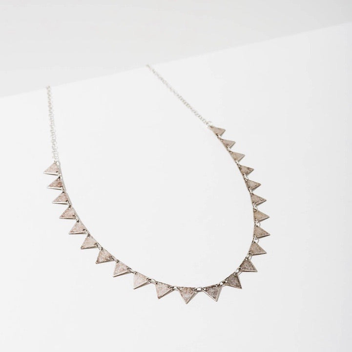Candra Geometric Tiny Triangles Necklace Oxidized Silver