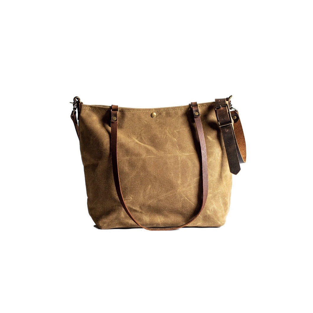 Handmade Waxed Canvas Tote Bag Tan Color