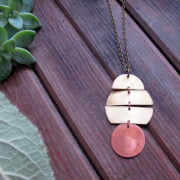 Planetary Necklace Long Brass & Copper
