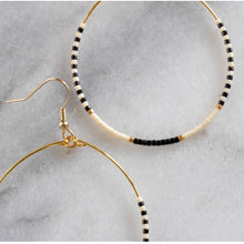 Load image into Gallery viewer, Libby & Smee • Beaded Gold Hoop Dangle Earrings • XL • Black White Gold