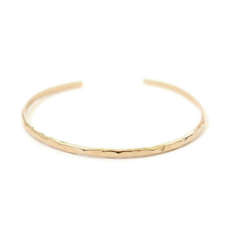 Bent By Courtney • Thin Hammered Stacking Cuff • 14K Gold Fill
