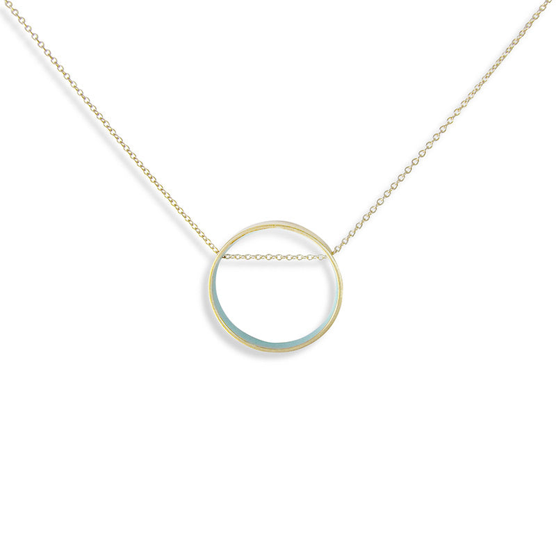 Ornamental Things Circle Blue Horizon Necklace Gold