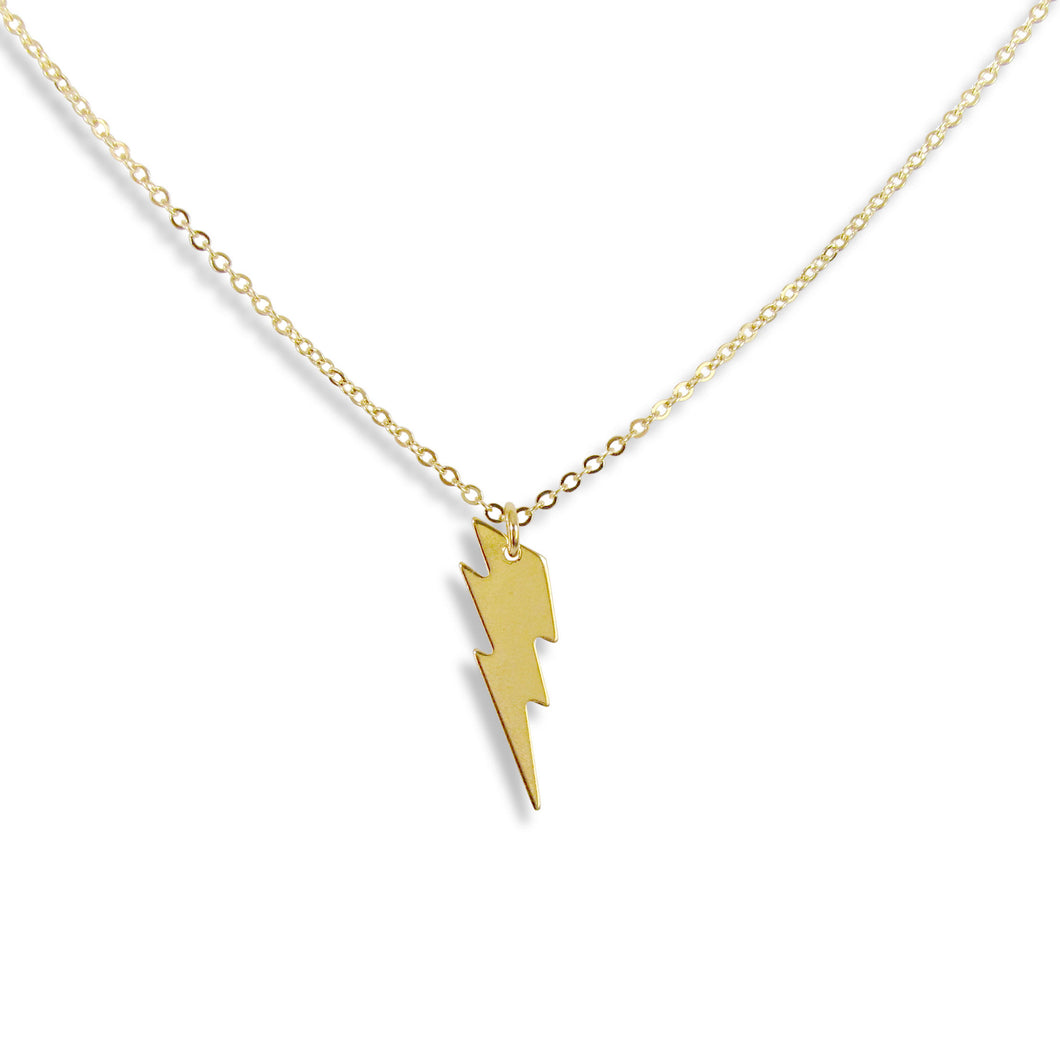 Lightning Bolt Necklace Gold