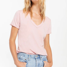 Load image into Gallery viewer, Organic V Neck Short Sleeve Tee Pale Mauve