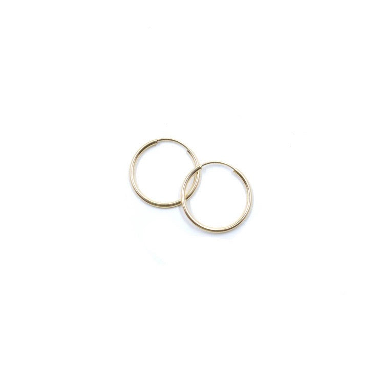 Thin Seamless Everyday Hoop Earrings Gold Small, Medium & Large