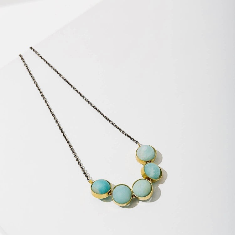 Larissa Loden • Alignment Matte Gemstone Necklace • Brass • Amazonite