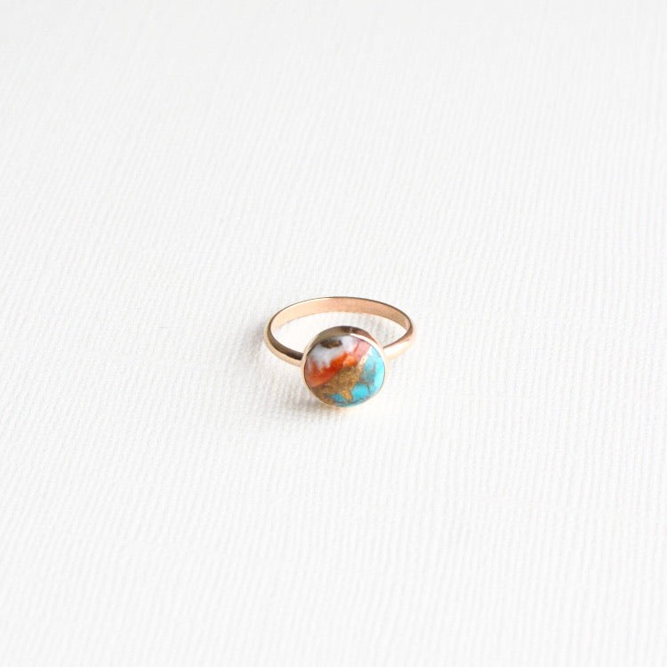 Gem & Blue • Oyster Turquoise Gemstone Ring • 14K Gold Fill