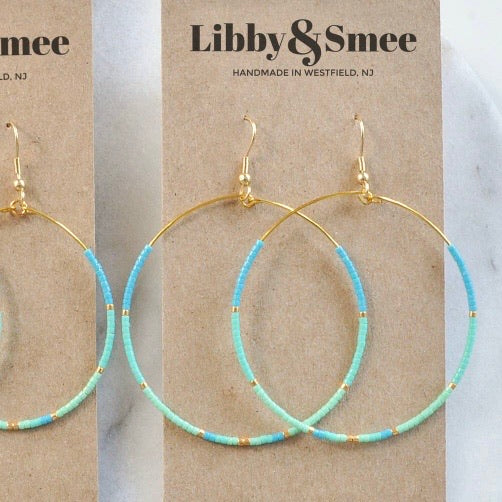 Libby & Smee • Beaded Gold Hoop Dangle Earrings • XL • Aruba Turquoise