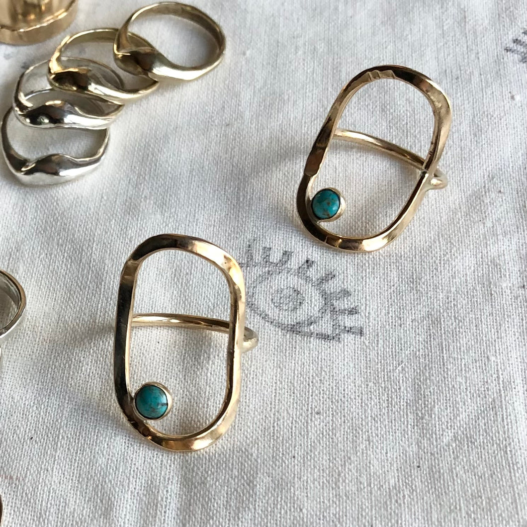 Fade Into The Abstract • Primitive Open Oval Turquoise Statement Ring • Brass