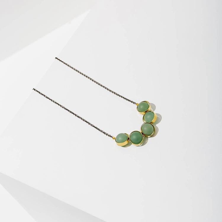 Larissa Loden • Alignment Matte Gemstone Necklace • Brass • Green Aventurine