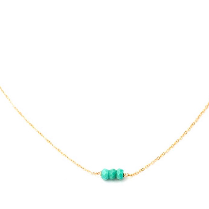 Minimalist 14K Gold Fill Turquoise Bead Necklace