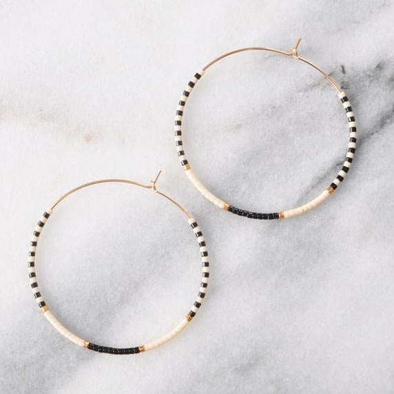 Libby & Smee • Beaded Hoop Earrings • 14K Gold Fill • Seamless • Black White Gold