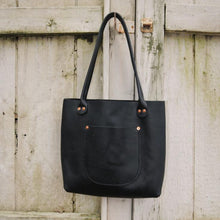 Load image into Gallery viewer, Hawks & Doves • Porter Tote Bag Short • DARK BROWN or BLACK Leather