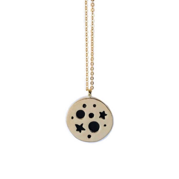 Space Planet Pendant Brass Necklace