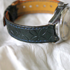 Watch strap handmade from kangaroo leather. Embossed and hand stitched.  Green strap, blue thread, gold buckle