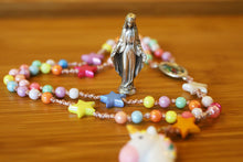 Load image into Gallery viewer, Divine Mother says pray and play! Pastel plastic colored 6mm beads and stars makes this rosary very light and bright.
