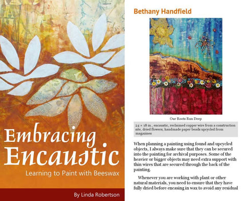 Embracing Encaustic by Linda Robertson & a painting by Bethany Handfield