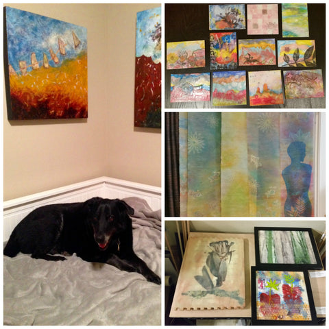 Jack Robertson (dog) and Linda Robertson's encaustic paintings