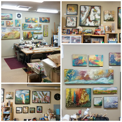 Views of Linda Robertson's encaustic studio in Portland , Oregon