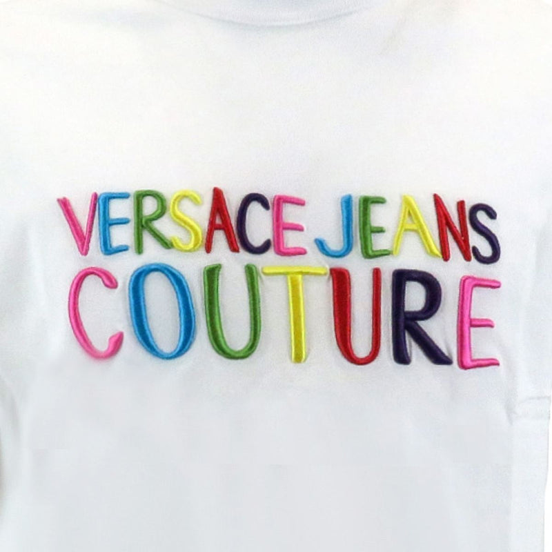 Versace Jeans Couture t-shirt uomo bianca con logo multicolor