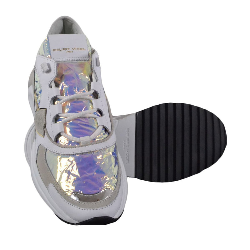 Philippe Model Paris Eze Satin sneakers basse donna bianche e iridescenti FW20