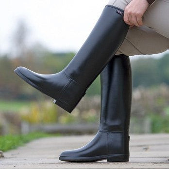 Ladies Long Rubber Riding Boots In Black