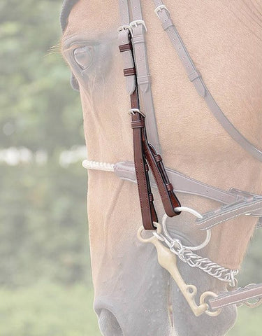 Dy'on Double Bridle Cheek Pieces in Brown