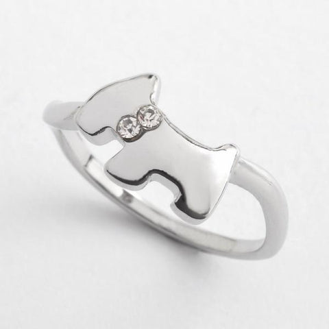 Silver Scottie Dog Ring