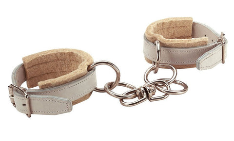 Chrome leather felt lined hobbles with chain.