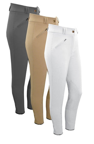 Grey, Beige & White Equetech Ladies Foxhunter Hybrid Breeches