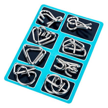 Load image into Gallery viewer, 8Pcs Metal Wire Puzzle Intelligent Lock IQ Brain Teaser Development Montessori Toys For Children Adult Anti-Stress Reliever Toys