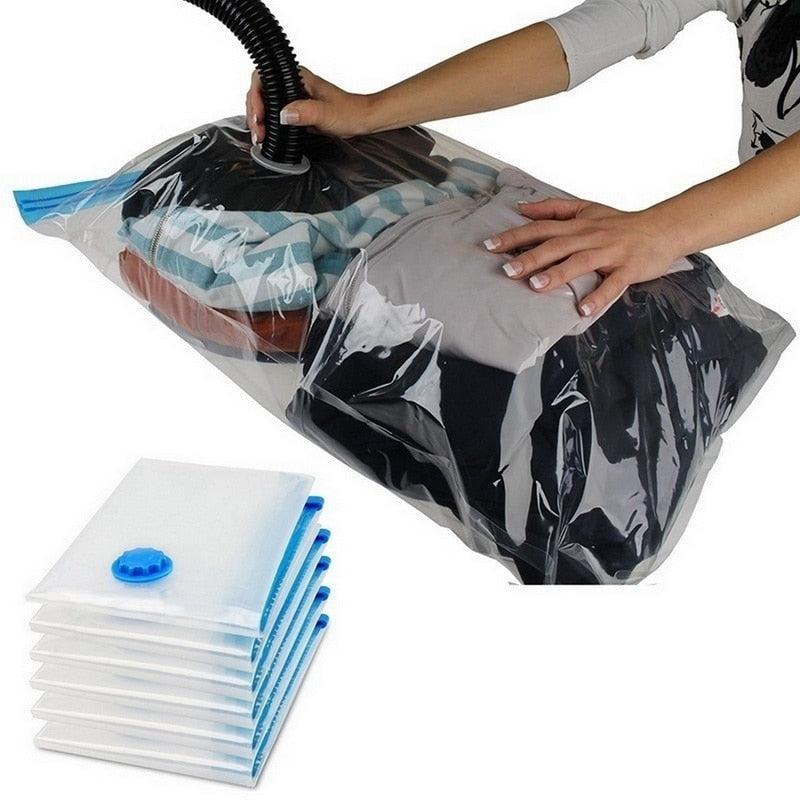 Home Vacuum Bag for Clothes Quilt Transparent Storage Bag Foldable Compressed Organizer Space Saving Seal Bags Organization