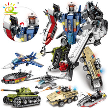 Load image into Gallery viewer, 733pcs 6in1 Transformation Robot Building Block Military Tank Helicopter Boat War Warrior Creator Bricks For Children