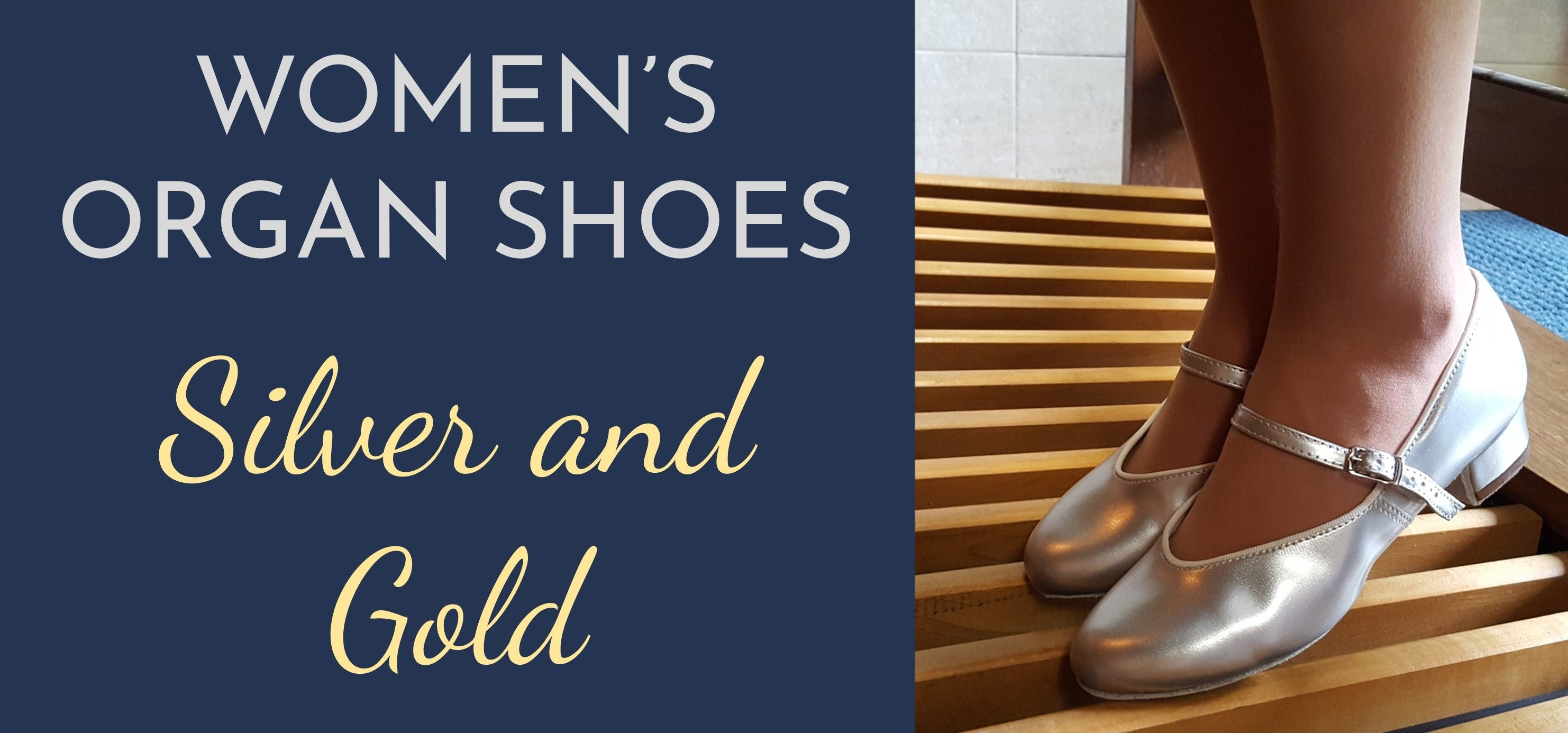 Womens silver and gold organ shoes