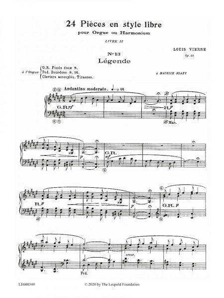 Louis Vierne: 24 Pieces in Free Style, Op. 31, Bk. 2