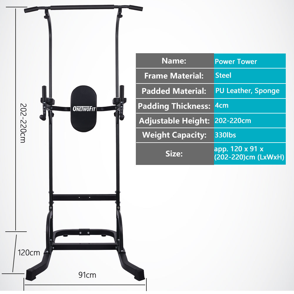 OneTwoFit Multi-Function Power Tower Standing Pull Up Bar OT061