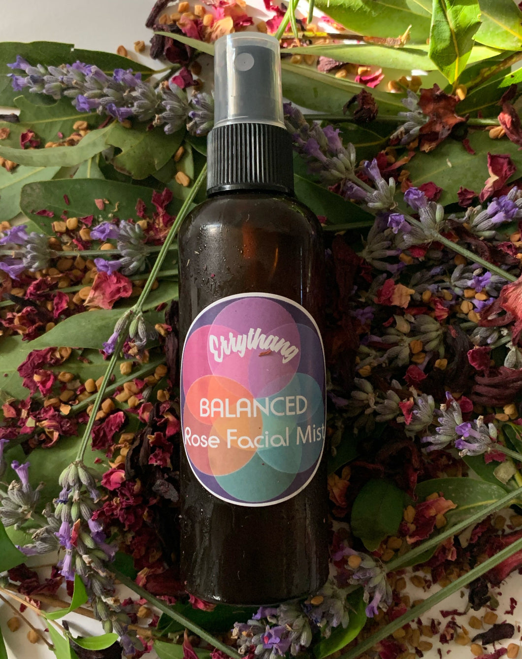 Looking for Clearer more Even Skin?  Our Rose and Lavander Facial toner is anti-bacterial and works to balance skin.  Balance Skins PH Evens Skintone  Brightens skin  Anti-bacterial Fights acne and Scarring  Anti Aging  Firms and Refreshes skin  2 Month supply Ingredients  -   Fresh Rose, Lavender, Distilled Springwater, Tea  Tree Oil.