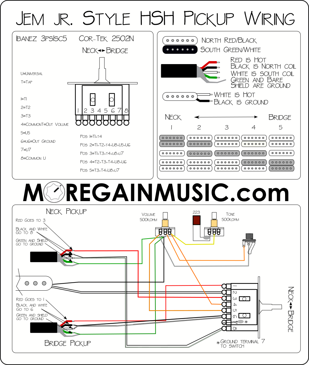 Pickup wiring diagram for HSH style Ibanez Jem jr and RG guitars