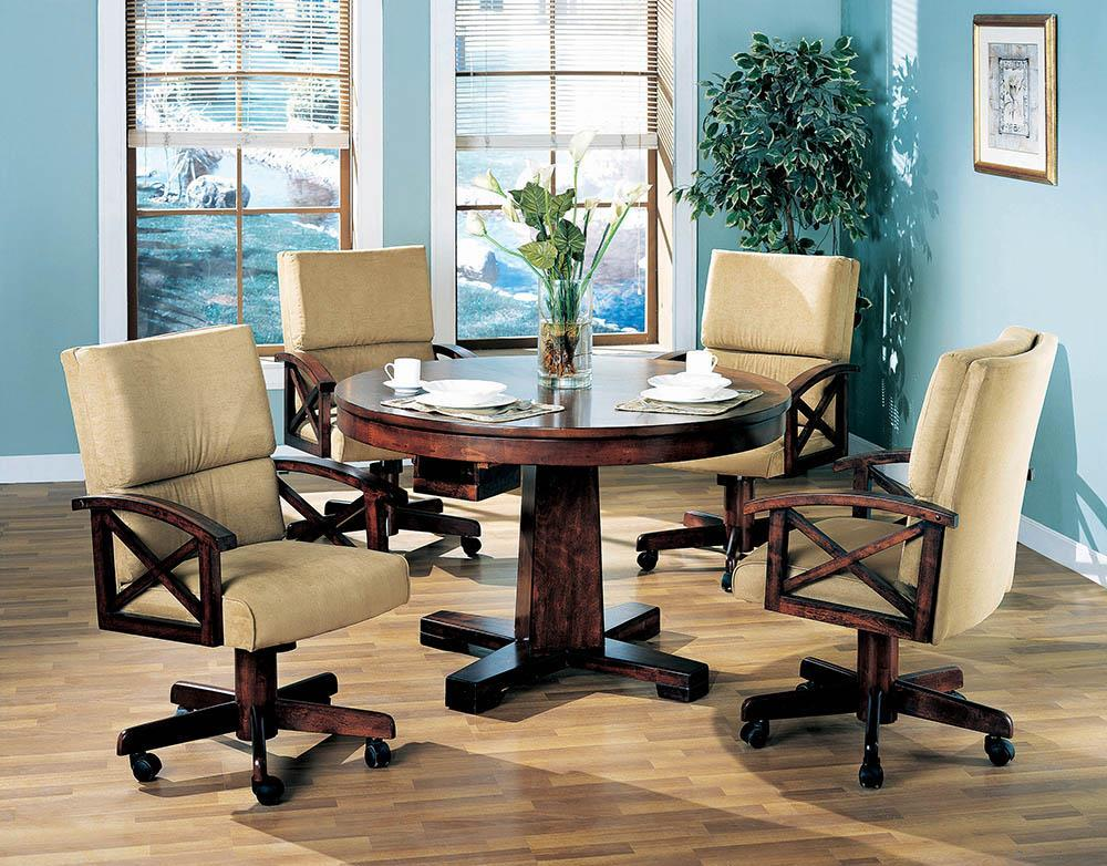 Marietta Game Table - Tan - Marietta Upholstered Game Chair Tobacco And Tan
