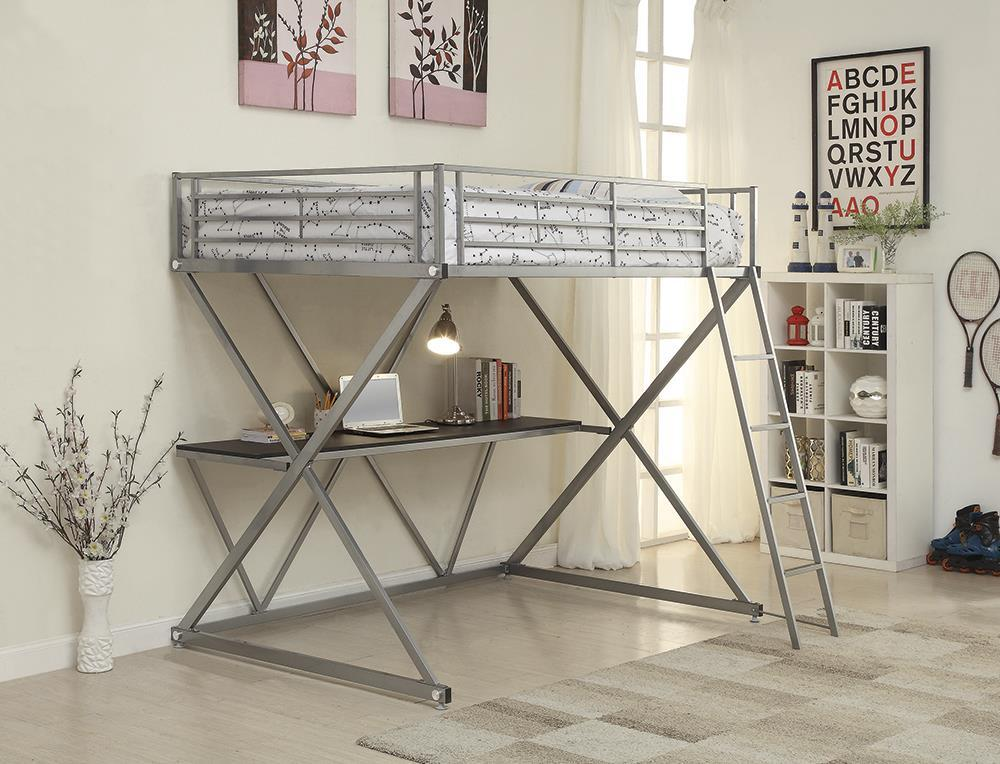 Hyde Workstation Loft Bunk Bed - Hyde Full Workstation Loft Bed Silver