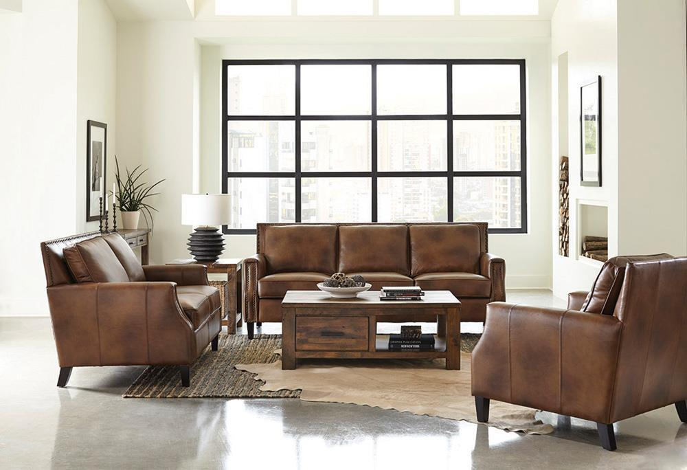 Brown Sugar - Leaton Upholstered Recessed Arms Sofa Brown Sugar