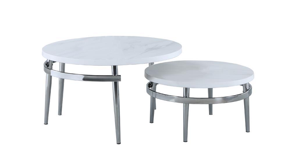 Round Nesting Coffee Table White And Chrome