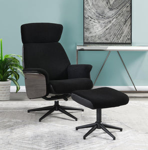 Black - Adjustable Height Accent Chair With Ottoman Black
