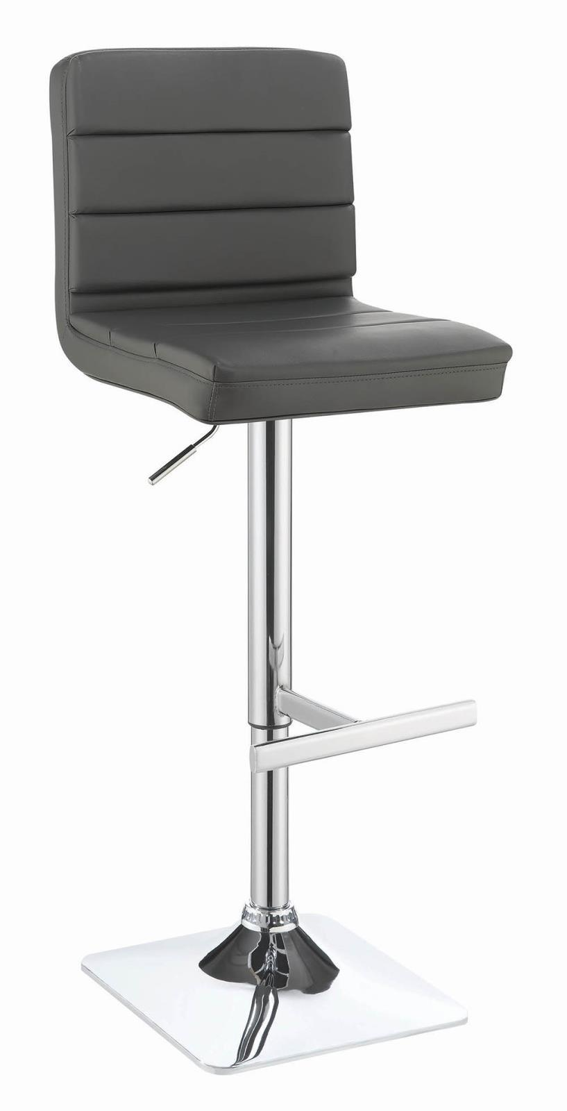 Rec Room/ Bar Tables: Chrome/glass - Grey - Upholstered Adjustable Bar Stools Grey And Chrome (Set of 2)