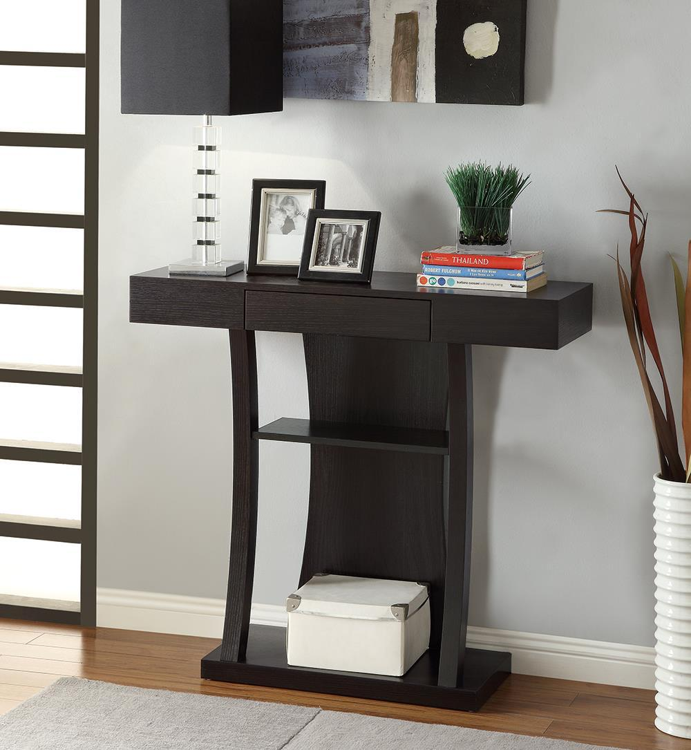 2-shelf Rectangular Console Table Cappuccino