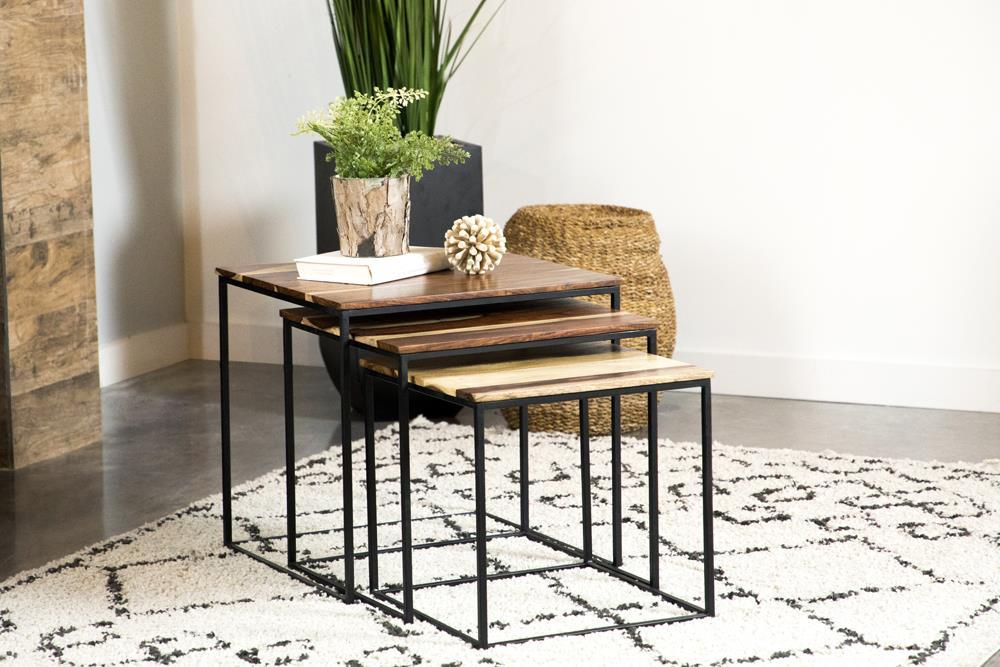 3-piece Square Nesting Tables Natural And Black