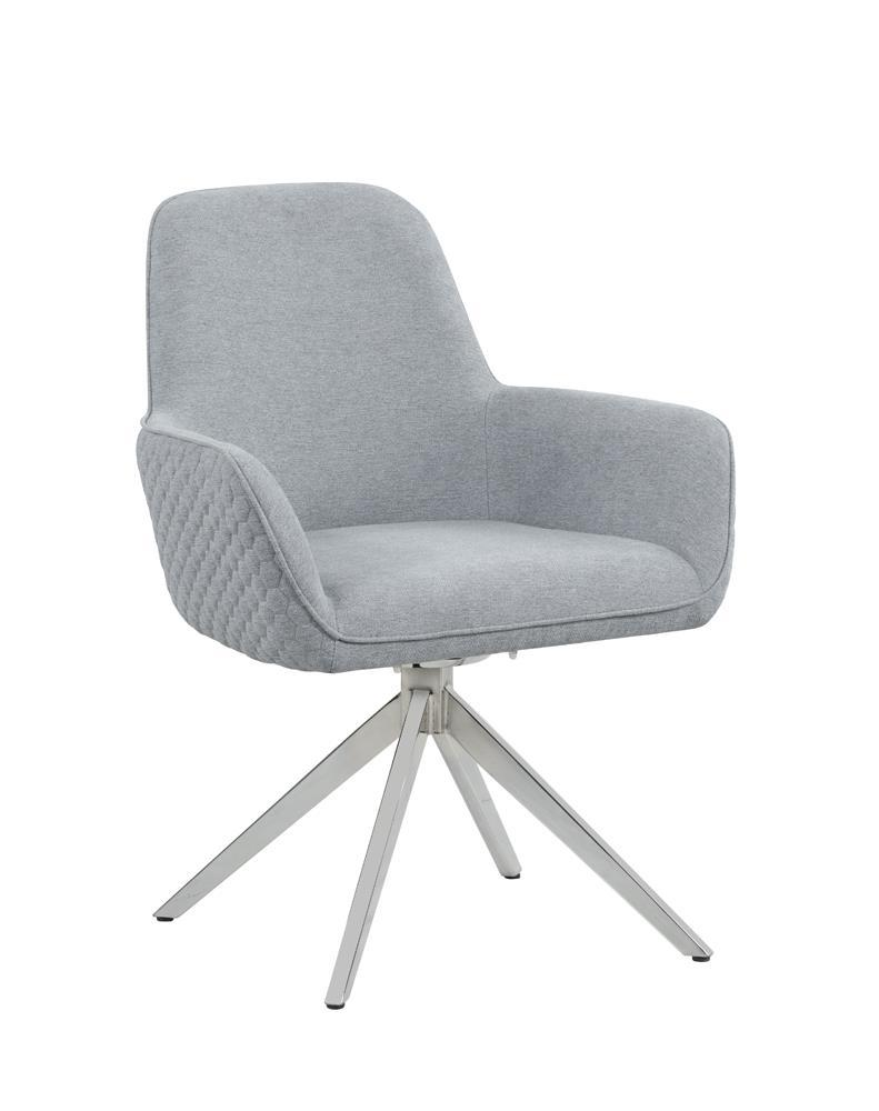 Light Grey - Abby Flare Arm Side Chair Light Grey And Chrome