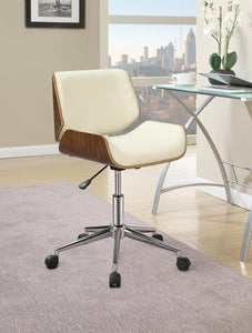 Home Office : Chairs - Ecru - Adjustable Height Office Chair Ecru And Chrome