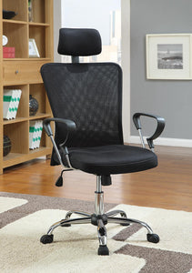 Home Office : Chairs - Black - Mesh Back Office Chair Black And Chrome