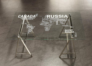 Patton Collection - Patton World Map Writing Desk Nickel And Printed Clear